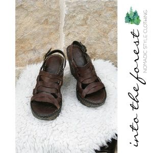 Born Brown Leather Wedge Sandals Shoes Size 8